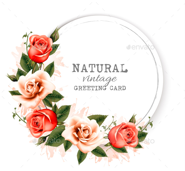 Natural Vintage Greeting Card With A Beautiful Flowers. Vector. - Flowers & Plants Nature