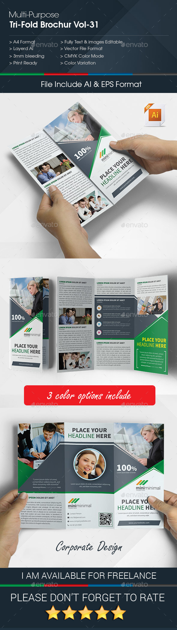 Multipurpose Business Tri-Fold Brochure Vol-31 - Corporate Brochures
