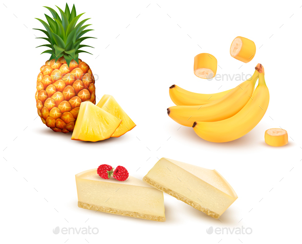 Set Of Different Fruit And Desert. Vector - Food Objects