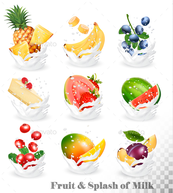 GraphicRiver Big Collection Icons Of Fruit In A Milk Splash 20220533