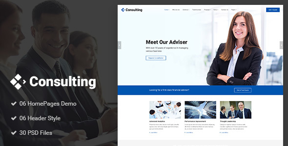 Consulting - Business, Finance, Broker, Advisor & Accounting PSD Template