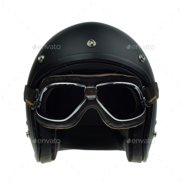 Black motorbike classic helmet and goggles - Stock Photo - Images