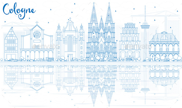 Outline Cologne Skyline with Blue Buildings and Reflections.