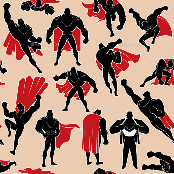Superhero in Action Seamless Pattern