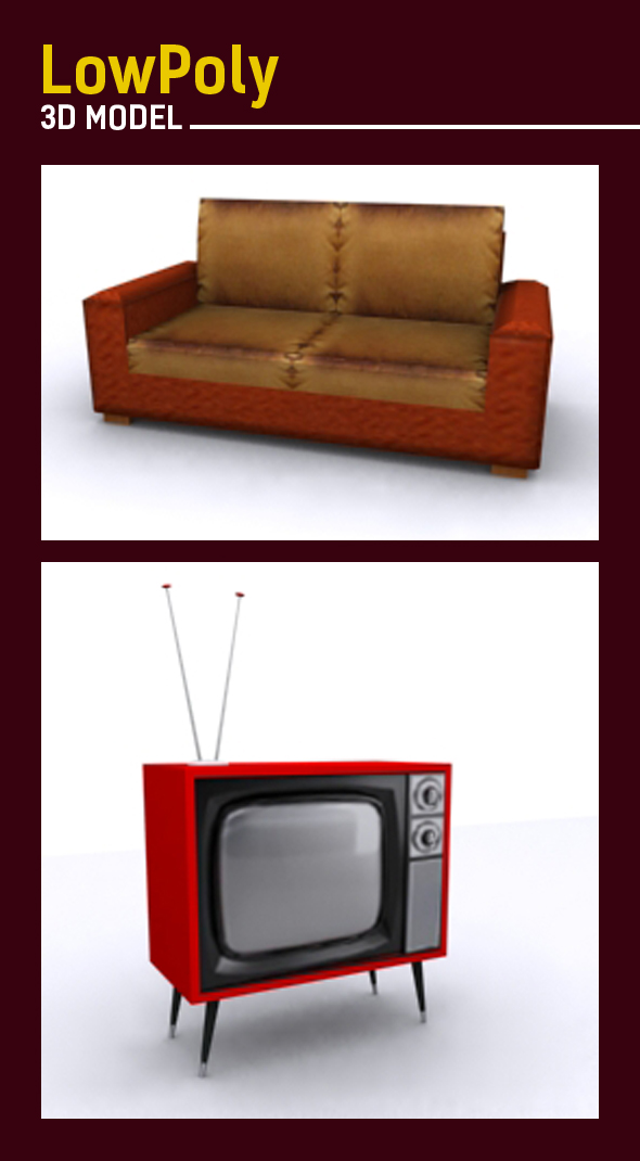 Lowpoly 3D sofa and tv model - 3DOcean Item for Sale