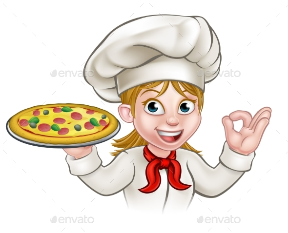 Cartoon Chef Woman and Pizza