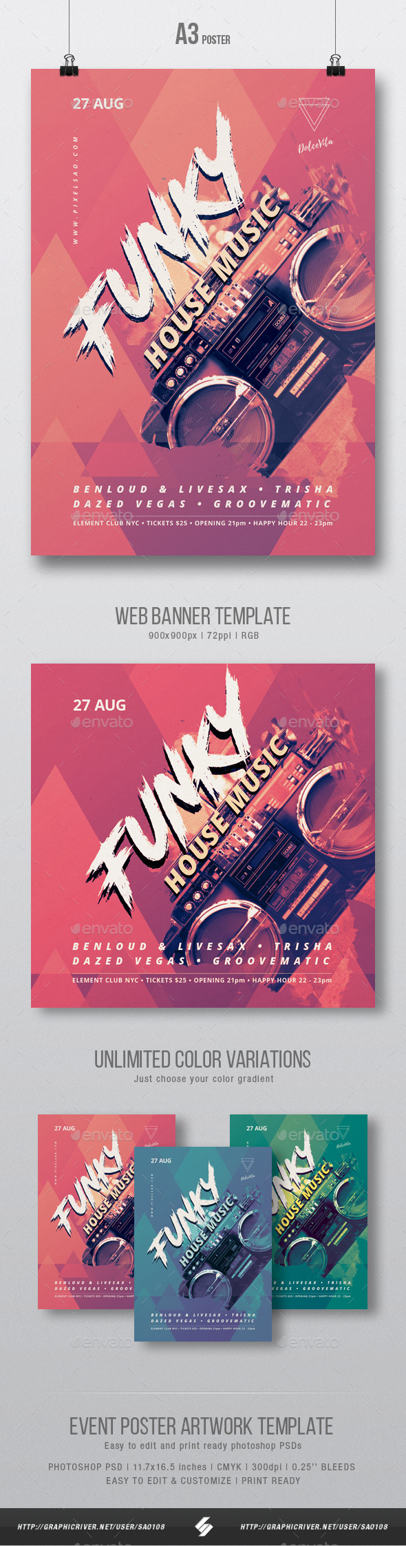 Funky House Music Party Flyer / Poster Template A3 - Clubs & Parties Events