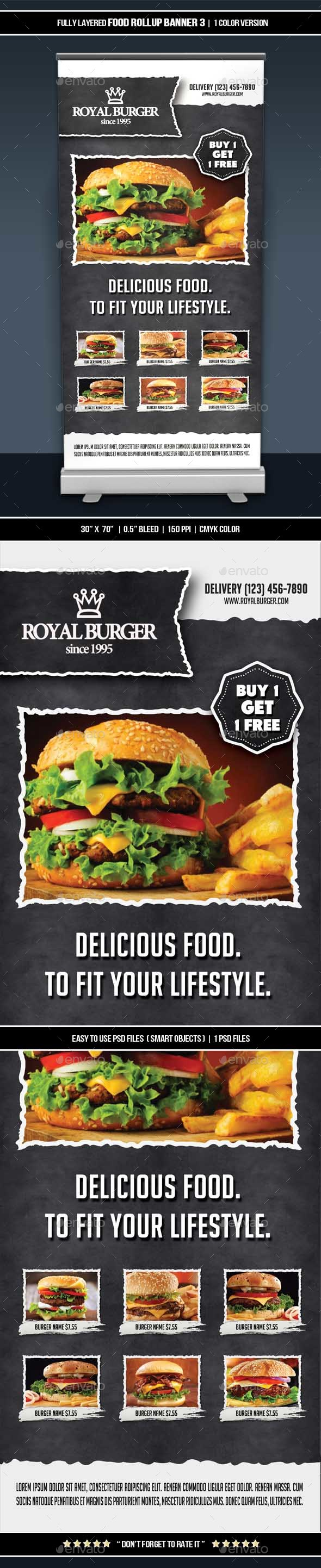Food Roll-up Banner 3 - Restaurant Flyers