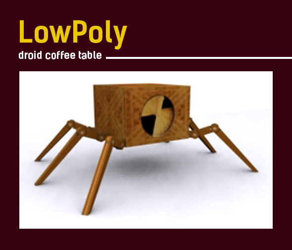 3D lowpoly droid coffee table model - 3DOcean Item for Sale