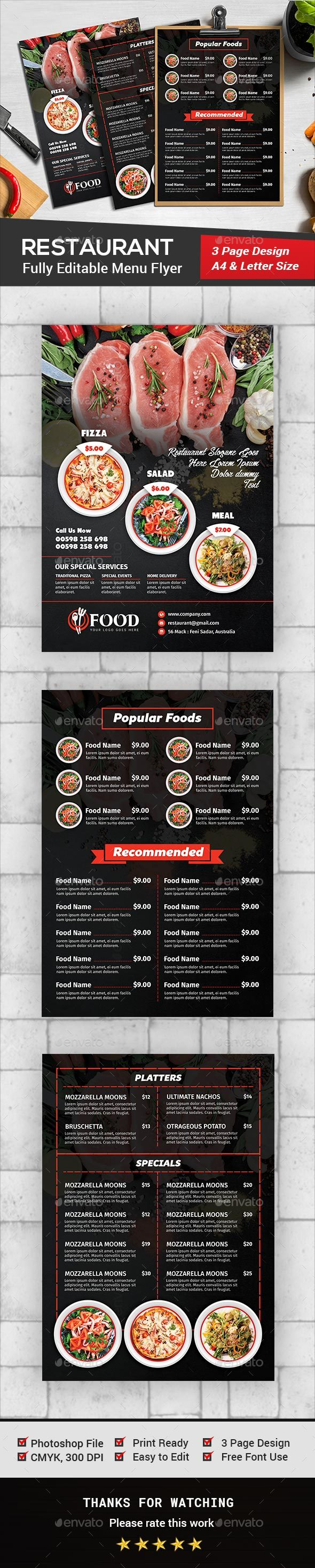 Restaurant Menu Flyer - Food Menus Print Templates