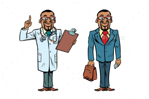 African Doctor and Businessman - Health/Medicine Conceptual