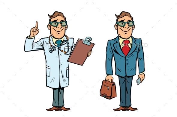 Happy Doctor with Glasses and a Businessman - Health/Medicine Conceptual