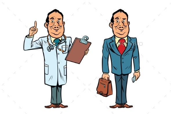 Smiling Doctor and Businessman - Health/Medicine Conceptual
