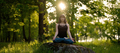 Meditation healthy life exercise concept. meditating and relaxing in Padmasana Lotus Pose