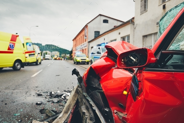 Ambulances for a traffic accident - Stock Photo - Images