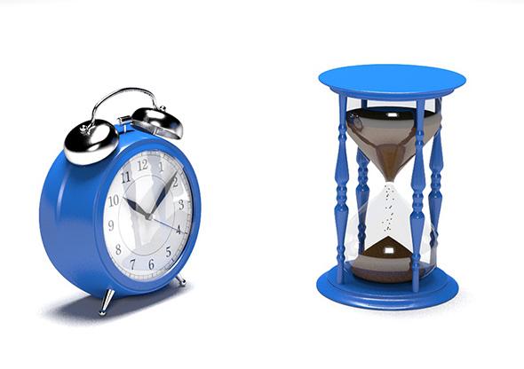 Alarm Clock & Hourglass - 3DOcean Item for Sale