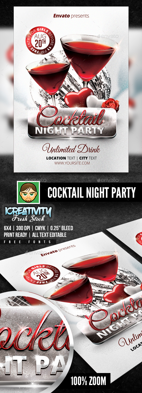 Cocktail Night Party Flyer - Events Flyers