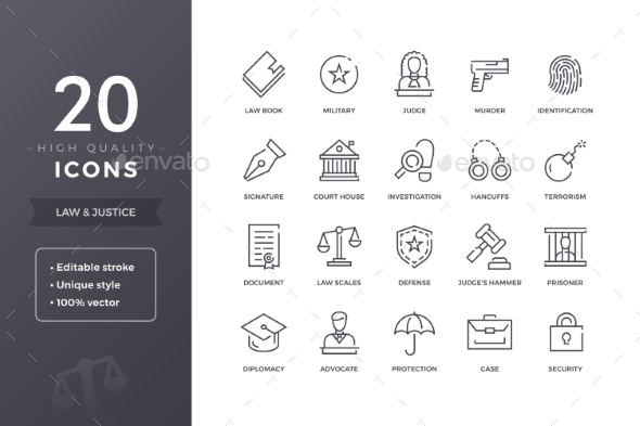 Law Line Icons - Miscellaneous Icons