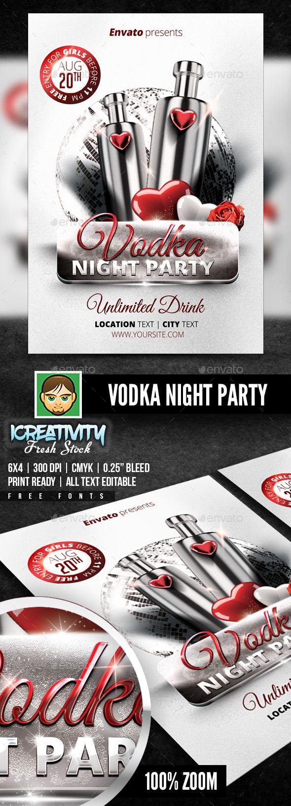 Vodka Night Party Flyer - Flyers Print Templates