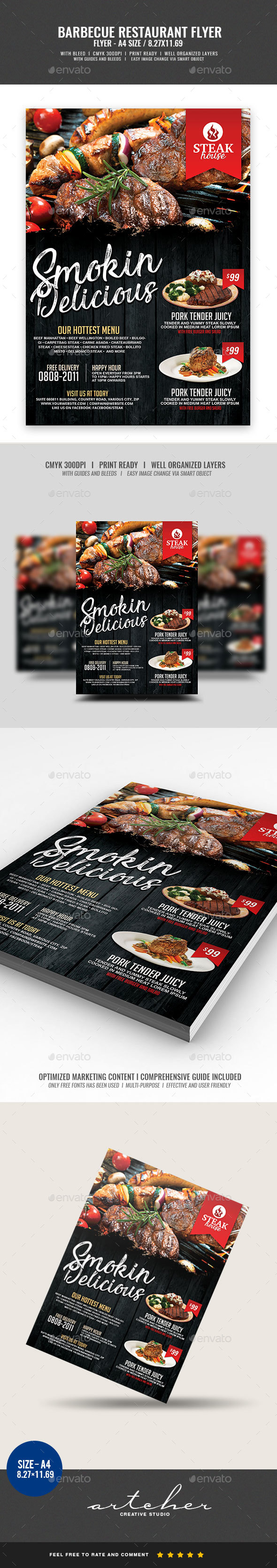 Barbecue Steakhouse Restaurant Flyer