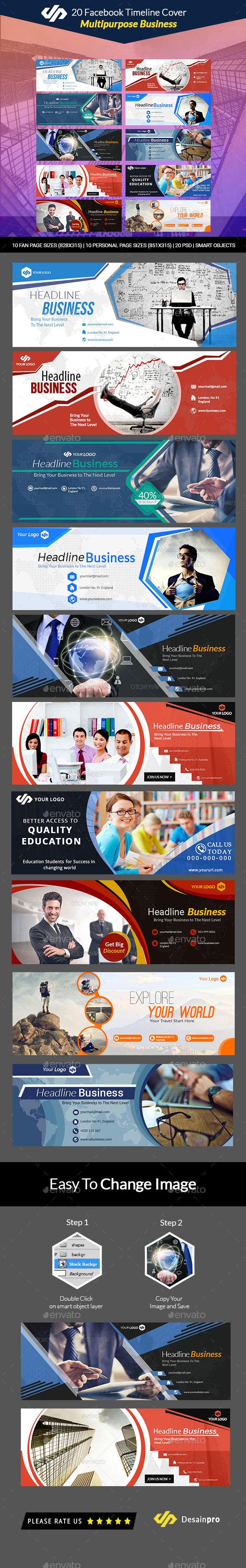 20 Multipurpose Facebook Covers  V1 - AR - Facebook Timeline Covers Social Media