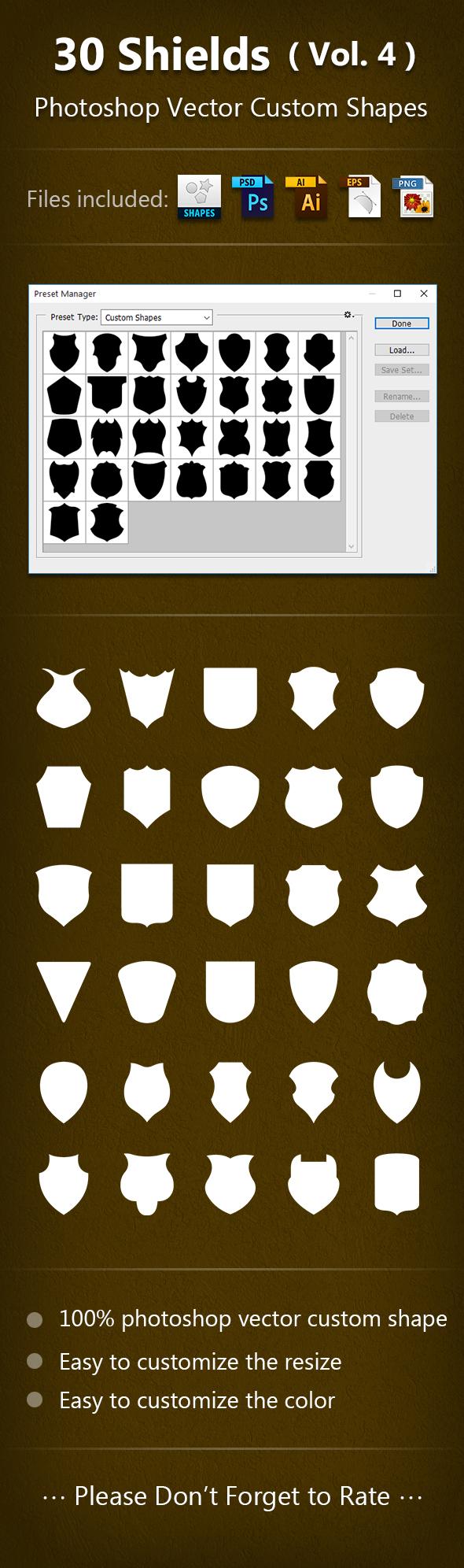 30 Shields Photoshop Vector Custom Shapes ( Vol.4 ) - Add-ons