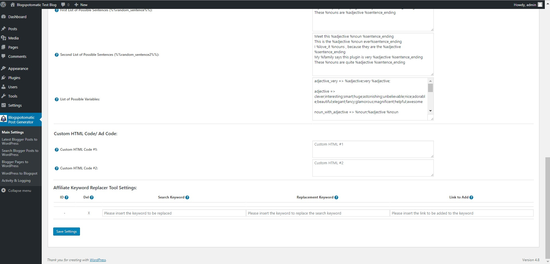 Blogspotomatic Automatic Post Generator and Blogspot Auto Poster Plugin for  WordPress
