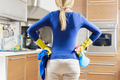 Woman Doing Chores Housekeeping Contemplating Kitchen - PhotoDune Item for Sale
