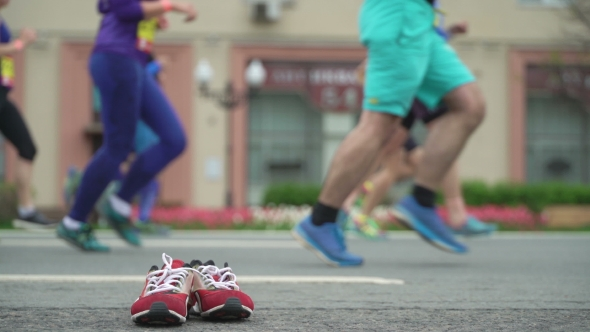 119db34f2e9ab Running Athletes on Street, City Marathon, Unrecognizable Face and Logo.  Concept Healthy Lifestyle (Stock Footage)
