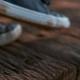 Female Feet Walking Wooden Ground