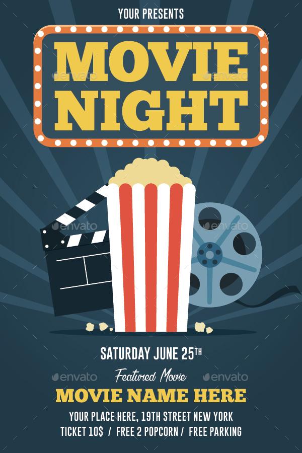movie night flyer by bonezboyz9