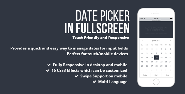 Date Picker In Fullscreen - jQuery Plugin - CodeCanyon Item for Sale