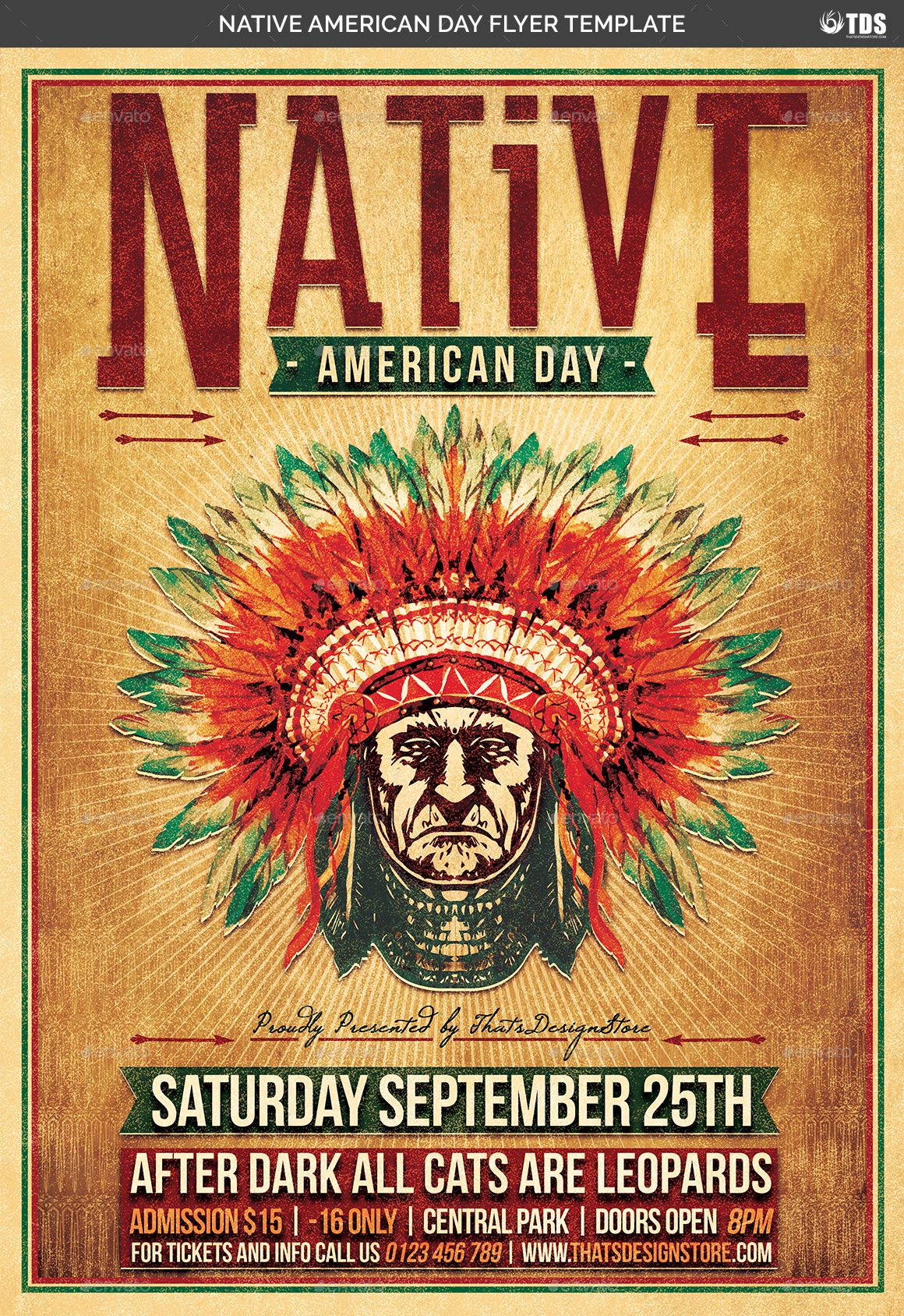 Native American Day Flyer Template By Lou606 Graphicriver