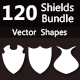 120 Shields Bundle Photoshop Vector Custom Shapes - GraphicRiver Item for Sale