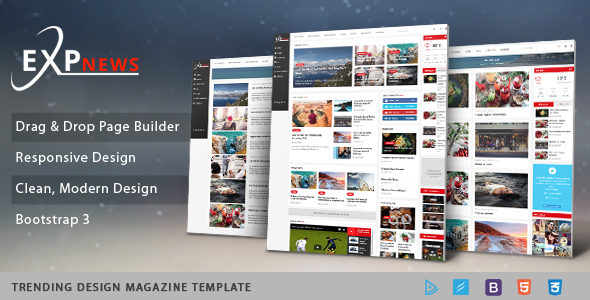 Sj ExpNews - Clean Drag & Drop News Portal Joomla Template - News / Editorial Blog / Magazine