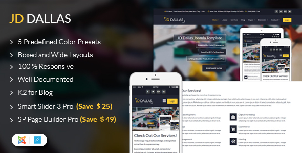 JD Dallas - Responsive Business Joomla 3.8 Template - Joomla CMS Themes