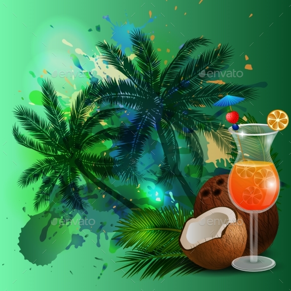 Summer Background with Palm Trees and Juice - Landscapes Nature