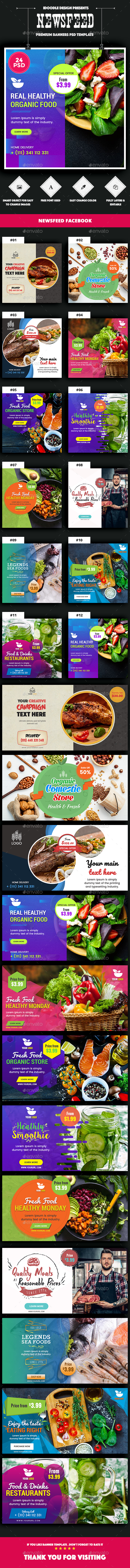 NewsFeed Food & Restaurant, Organic Comestic, Drinks Juice Banner Ad – 24PSD