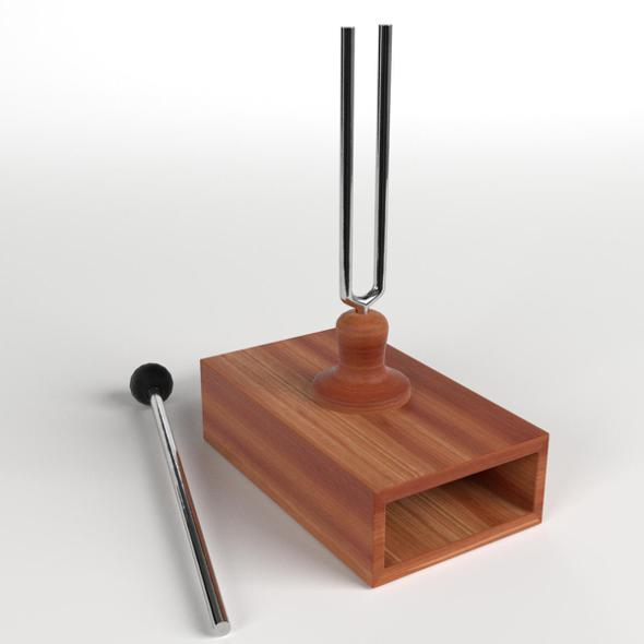Tuning Fork on Resonator Box - 3DOcean Item for Sale