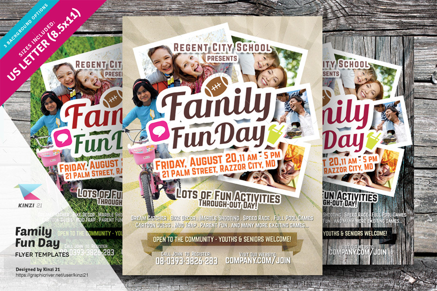 family fun day flyers by kinzi21 graphicriver. Black Bedroom Furniture Sets. Home Design Ideas