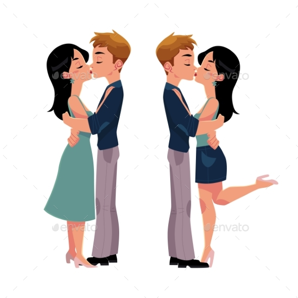 GraphicRiver Set of Young Couple Man and Woman Kissing 20226580