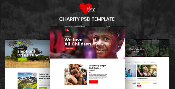 THX - Charity & donation PSD Template