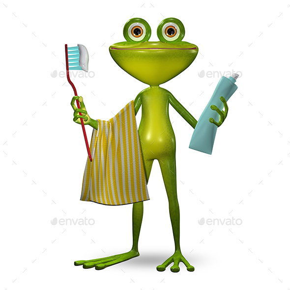 3d Illustration Frog with Toothpaste