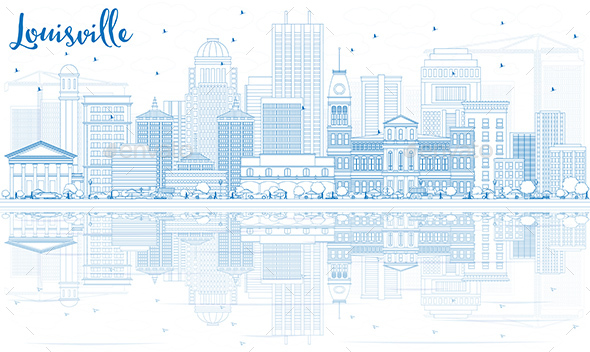 Outline Louisville Skyline with Blue Buildings and Reflections.