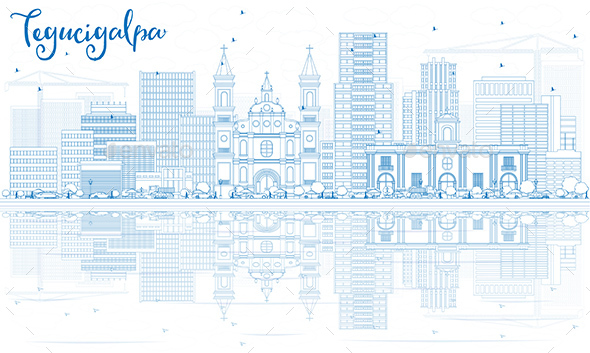 Outline Tegucigalpa Skyline with Blue Buildings and Reflections. - Buildings Objects