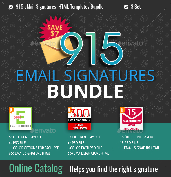 915 Email Signatures Bundle - Social Media Web Elements