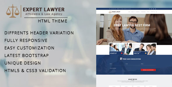 ThemeForest Lawyer Company HTML Template 19737110