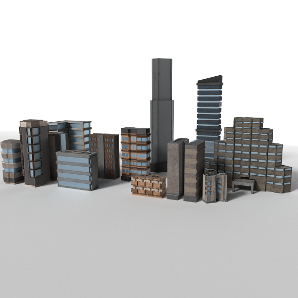 3DOcean 10 Detailed Low Poly Buildings Pack 20227624