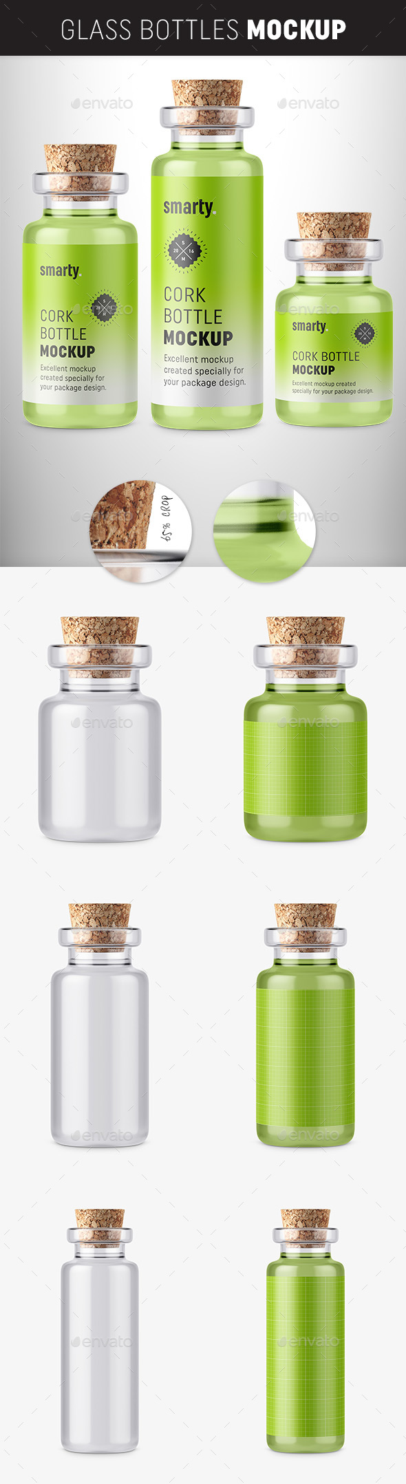 Glass Bottle with Cork Mockup
