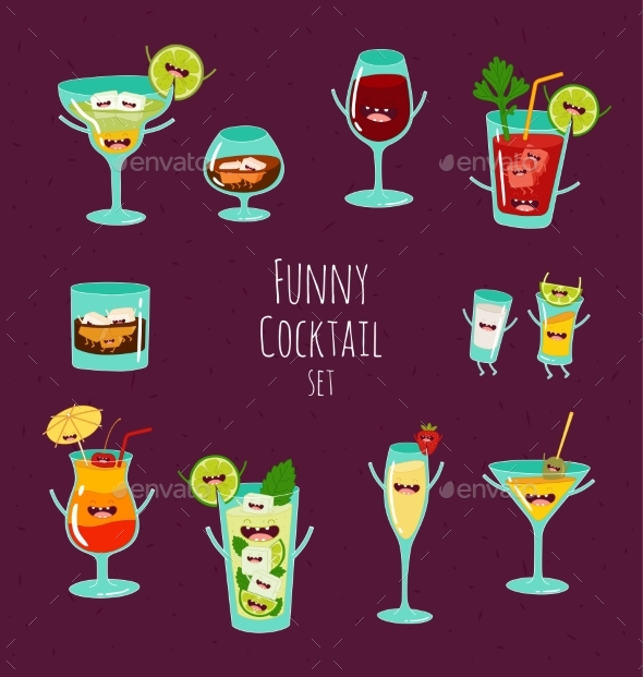 Funny Cocktail. Vector Illustration. - Food Objects